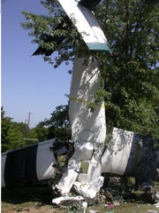 The remnants of a skydiving plane, which crashed in 2006 in Missouri, killing six.