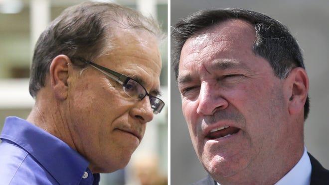 U.S. Senate candidates Mike Braun (left) and Sen. Joe Donnelly.