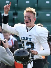 Bishop Kearney quarterback Matt LaRocca celebrates the win.