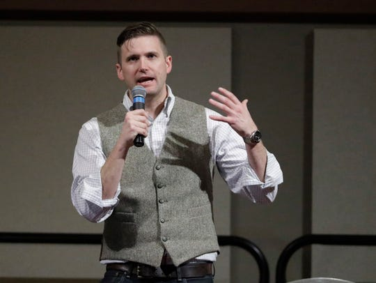 White nationalist leader Richard Spencer speaks at the Texas A&M University campus on Oct. 18, 2017.