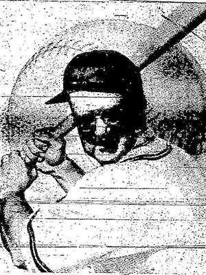 """""""Pinch-hitter"""" Walter O'Malley taking a swing to open spring training at Dodgertown. (Feb. 21, 1957)"""