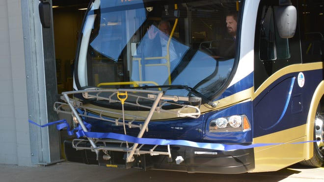 One of Seneca's electric buses leaves the station.
