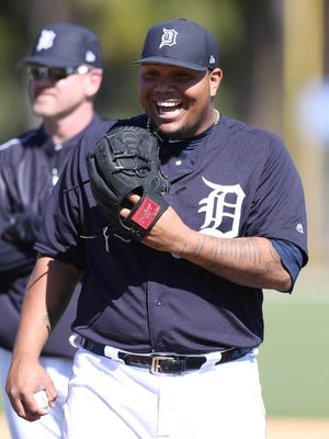 Detroit Tigers pitcher Bruce Rondon at Tigers Spring Training on Thursday, Feb. 16, 2017 at Publix Field at Joker Marchant Stadium in Lakeland, Fla.