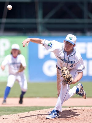 Colchester pitcher Thomas Vesosky lets fly against South Burlington during the Division I high school baseball state championship game on Saturday at Centennial Field.