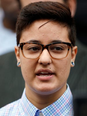 Daniela Vargas speaks about the recent immigration raid that picked up more than 50 allegedly undocumented immigrants including her father and brother during a news conference Wednesday, March 1, 2017, at the Jackson, Miss., city hall. A shot time after the news conference, Vargas was detained by ICE officials. A college student, Vargas hopes to continue her education but fears for the fate of other undocumented immigrant families.