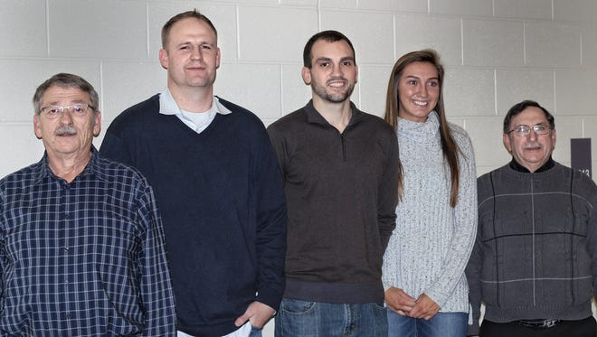 Bloom-Carroll inducted three new members into its Athletic Hall of Fame, as well as Athletic Service Award winner. From left to right: Greg Shafer, Athletic Service Award, Brandon Jennings, Ryan and Taylor Hughes, accepting for their sister, Ashley Hughes, and Choc Woods, accepting for his brother, Francis Woods.