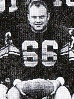 Green Bay Packers linebacker Deral Teteak in the 1956 team picture. It was his last season with the Packers.