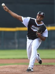 Erie SeaWolves pitcher Sandy Baez delivers a pitch