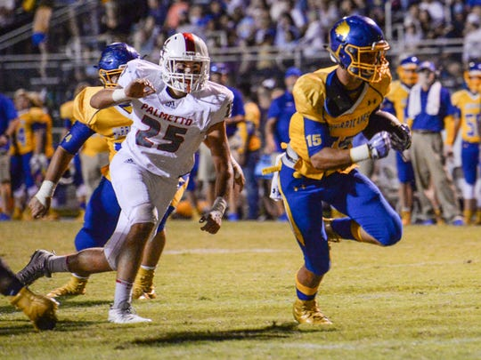 Wren sophomore Tyler Cherry (15) runs by Palmetto senior Ben Cochran (25) for a touchdown during the second quarter at Wren High School in Piedmont on Friday.