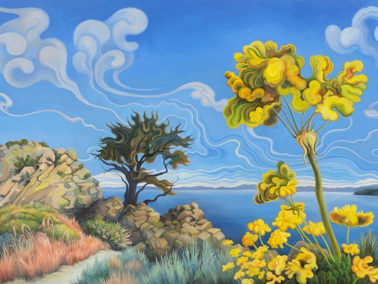"""Phyllis Shafer, """"Above Cave Rock,"""" 2014, Oil on Canvas, 25 x 77 inches."""