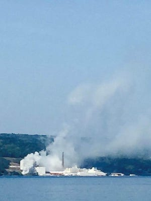 A fire Monday at the US Salt plant in Watkins Glen destroyed a generator and sent smoke drifting north up Seneca Lake.