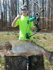 Connor Edwards caught this state record silver carp via archery in Cheatham Lake.