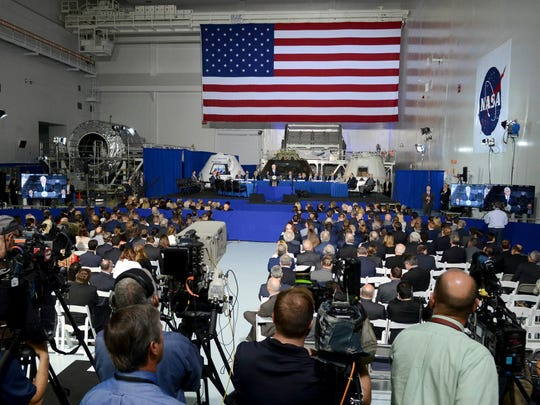 Vice President Mike Pence addresses the audience during a meeting of the National Space Council Wednesday, Feb. 21, 2018 at Kennedy Space Center.