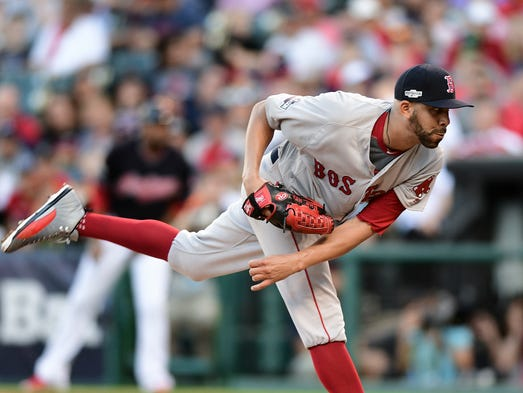 Boston Red Sox pitcher David Price follows through