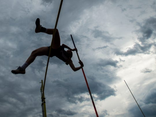 Essex's Hannah Neddo competes in the girls pole vault during a track and field meet earlier this season.