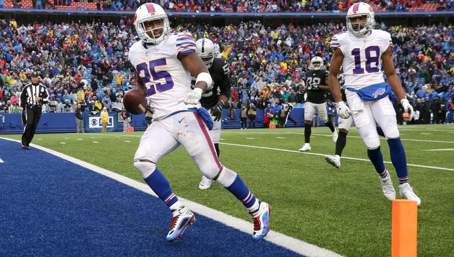 Bill running back LeSean McCoy scores on a 48 yard run to seal a 34-14 win over Oakland.