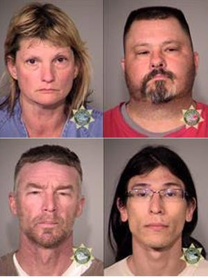 The last four holdouts of a takeover of a Oregon federal wildlife refuge are shown in booking photos Feb. 11, 206, following their arrest in Burns, Ore. (L-R top row are Sandra Lynn Anderson, Sean Larry Anderson ; L-R bottom row are Jeff Wayne Banta, David Lee Fry)