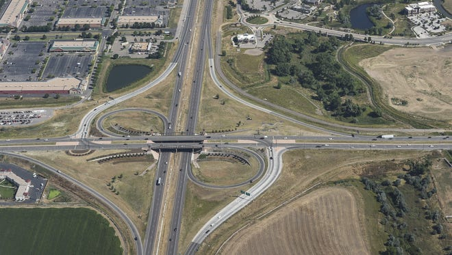 The Interstate 25 junction at U.S. Highway 34 in Loveland is seen in this August photo. Various efforts are focused on widening the interstate to three lanes in each direction between Fort Collins and Longmont before 2075.