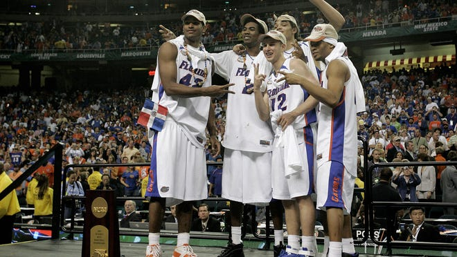 The Florida Gator starters pose on stage as national champions after defeating Ohio State 84-75 at the Georgia Dome in Atlanta on April 2, 2007.