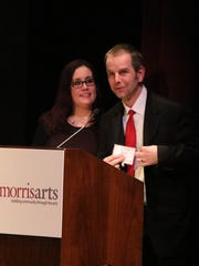 Winners of the Outstanding Professional in the Arts Kristy Brucale Jach and Paul Jach owners of Speakeasy Gallery. Morris Arts is recognizing individuals and organizations whose accomplishments, dedication and contribution to the arts are significant at their annual 2015 Celebrate the Arts Awards at the Bickford Theatre Wednesday March 25, 2015.