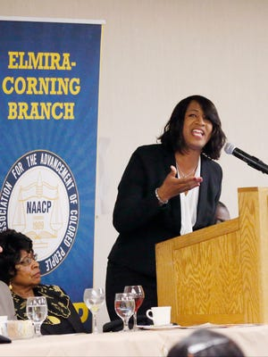 The Rev. Lorri Thornton tells the audience that dreamers like Martin Luther King Jr. are possible in today's world, but they need to rise up and be restored. Thornton was the keynote speaker at Elmira Corning Branch of the National Association for the Advancement of Colored People and the Black Technology Network's MLK breakfast Saturday at the Radisson Hotel in Corning.