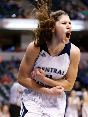 Cameron Onken pumps her fists and lets out a scream after scoring and drawing a foul against Covenant Christian with 6:40 remaining in the Class 2A State Finals Saturday, February 27, 2016, at Bankers Life Fieldhouse in Indianapolis. Onken's basket put CC up 47-35. CC defeated Covenant Christian 56-43.