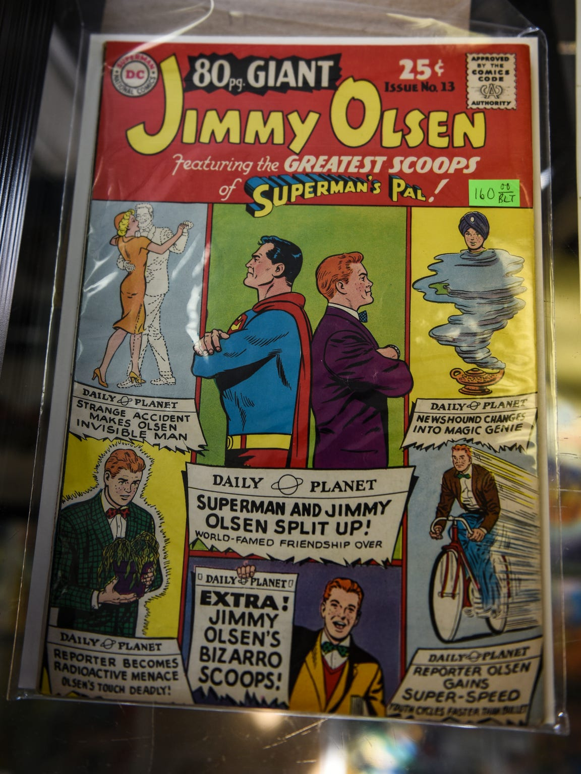 A giant comic book of Jimmy Olsen at Comics and Paperbacks Plus in Palmyra.
