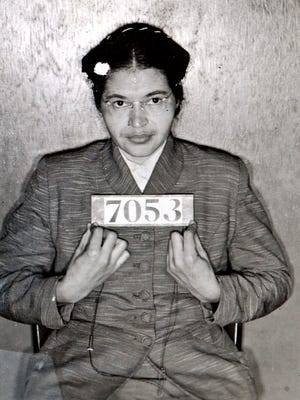 A Montgomery (Ala.) Sheriff's Department booking photo of Rosa Parks taken Feb 22, 1956, after she was arrested for refusing to give up her seat on a bus for a white passenger on Dec. 1, 1955 in Montgomery, Ala.