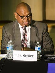 Theo Gregory speaks during the Wilmington mayoral debate at the Holy Trinity Greek Orthodox church in Wilmington in July 2016.