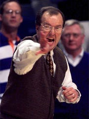 Cliff Ellis yells instructions while at Auburn during