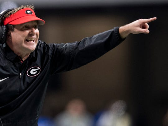 Georgia head coach Kirby Smart in second half action of the College Football Playoff National Championship Game in the Mercedes Benz Stadium in Atlanta, Ga., on Monday January 8, 2018. (Mickey Welsh / Montgomery Advertiser)