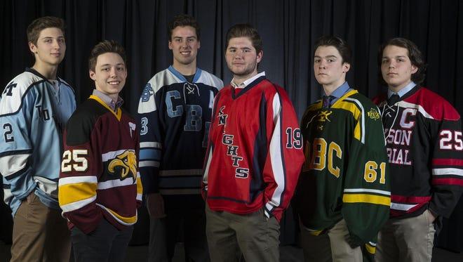 The 2016-17 All-Shore Ice Hockey Team of Julian Kislin, Michael Mania, Derek Contessa, Shane Haviland, Ciaran McNelis and Trevor Cear.