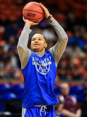 Kentucky's Jamarl Baker takes shots at practice Wednesday, March 14, 2018, before the Wildcats' opening game against Davidson in the Taco Bell Arena in Boise, Idaho.