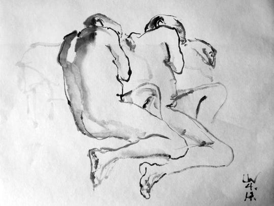 Untitled ink drawing by Laura Witt, part of the 42nd Juried Annual exhibit at the Miller Art Museum.