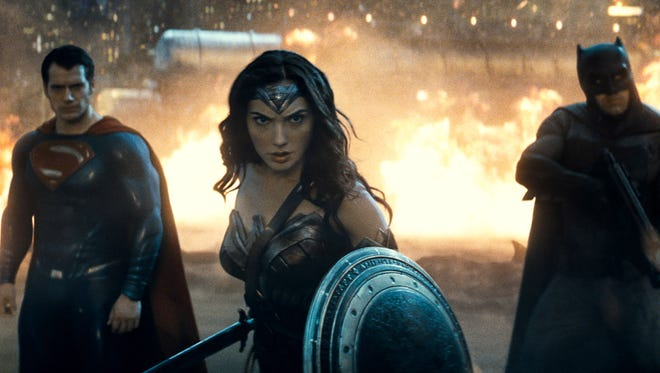 Superhero costumes on  Superman (Henry Cavill), Wonder Woman (Gal Gadot) and Batman (Ben Affleck) have more contrast and color in the 4K Ultra HD Blu-ray version of 'Batman v Superman: Dawn of Justice.'