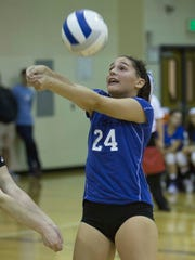 NV/Demarest setter Alicia Iafrate (24) returns a volley during championship of the 43rd Bergen County girls volleyball tournament on Sunday, Oct. 29, 2017.