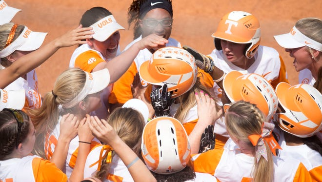 Tennessee's Megan Geer is congratulated by teammates after she hit a grand slam against Florida on April 30, 2017.