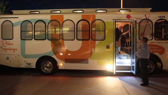 The Palm Springs Buzz trolley line celebrates its first birthday Thursday evening at VillageFest in downtown.