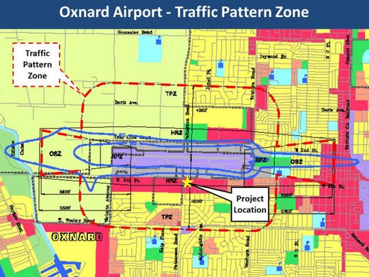 A proposed City of Oxnard senior center falls within the Traffic Pattern Zone for Oxnard Airport, raising safety concerns.