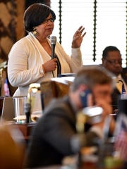 Sen. Barbara Blackmon, D-Canton, speaks as members of the Senate meet to approve appropriations in chambers at the Capitol Wednesday.