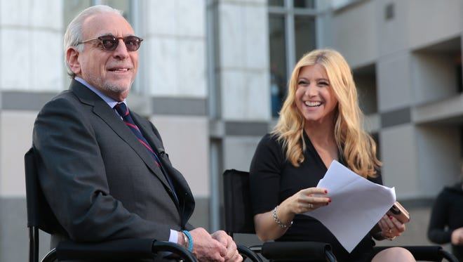 Trian Partners CEO Nelson Peltz prepares for an interview by CNBC's Sara Eisen after losing the shareholder vote for a seat on Procter & Gamble's board, Tuesday, Oct. 10, 2017, in Cincinnati.