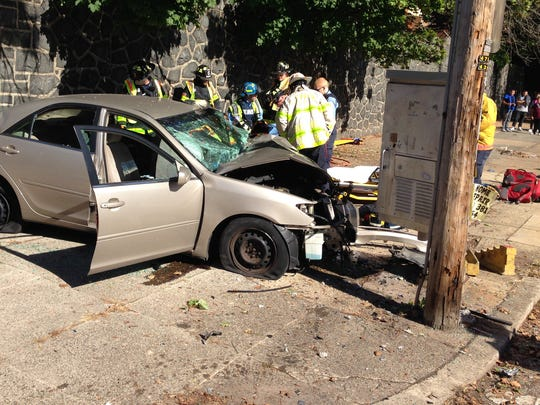 A single-vehicle crash has closed West Fourth Street near Bayard Avenue Tuesday in Wilmington.