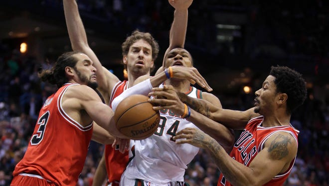 Pau Gasol and the Bulls frustrated Giannis Antetokounmpo in the first round of the NBA Playoffs in 2015, especially in Game 6.