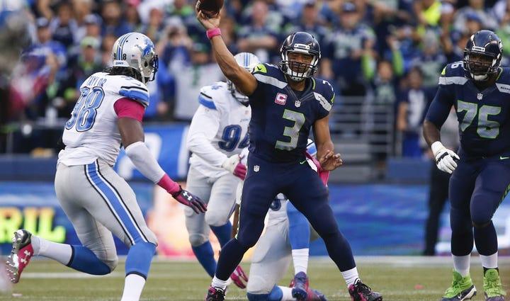 Seattle Seahawks quarterback Russell Wilson (3) passes