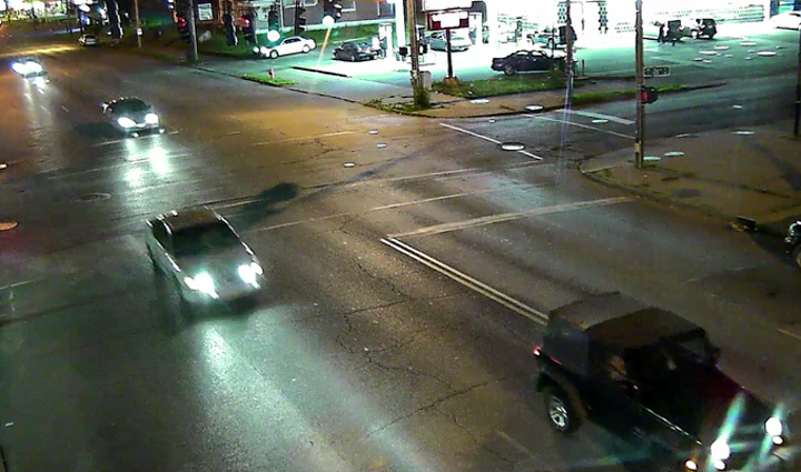 Seen here is the White Chevy Impala heading eastbound