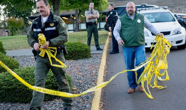 Police clear crime tape at Umpqua Community College,