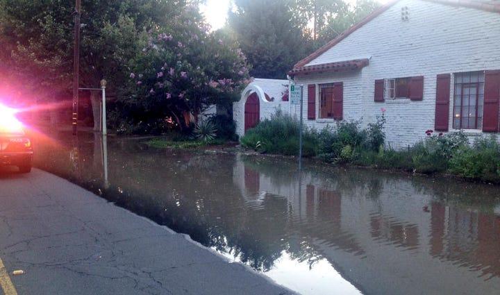 Flooded street in Land Park