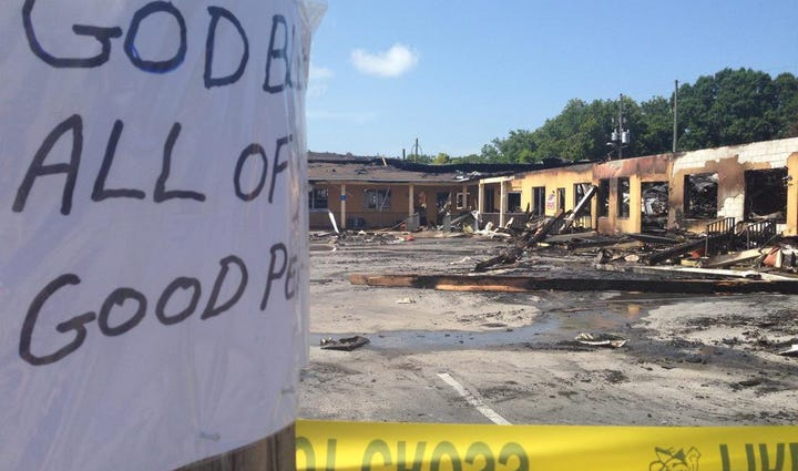 A fire that broke out overnight at a strip mall has
