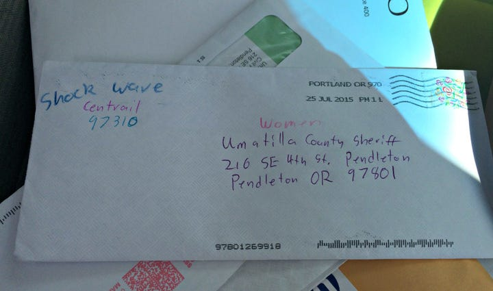 This is a suspicious letter sent to the Umatilla County