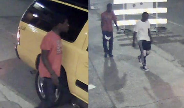 Surveillance images of the suspects in the cab robbery.